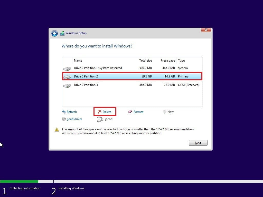 delete-primary-partition-clean-install-windows10
