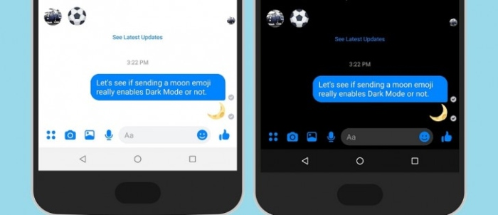Send moon emoji to active dark mode on Facebook